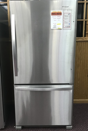 Whirlpool WHIRLPOOL BOTTOM MOUNT REFRIGERATOR WITH ICE MAKER - HOT BUY!