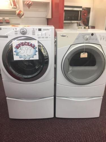 Maytag front load washer and dryer with pedestals